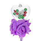 Цветок на палочке для букетов с сердечком цвет сиреневый