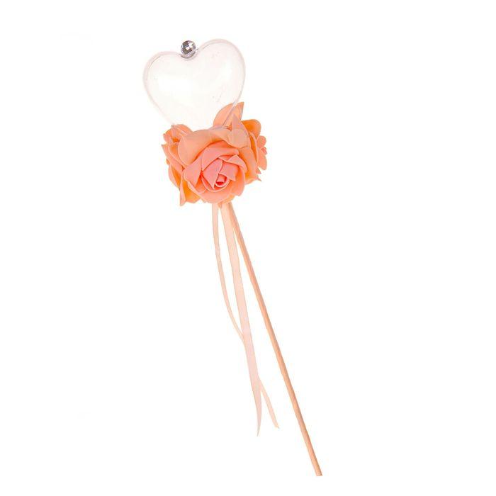 Цветок на палочке для букетов с сердечком цвет персик