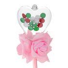 Цветок на палочке для букетов с сердечком цвет розовый