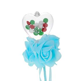 Flower on a stick for bouquets with heart color blue