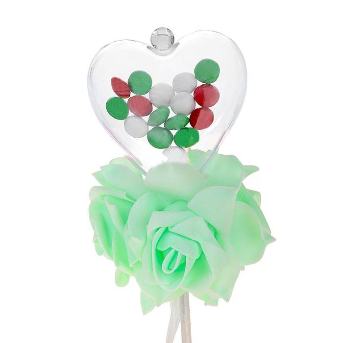 Цветок на палочке для букетов с сердечком цвет зеленый