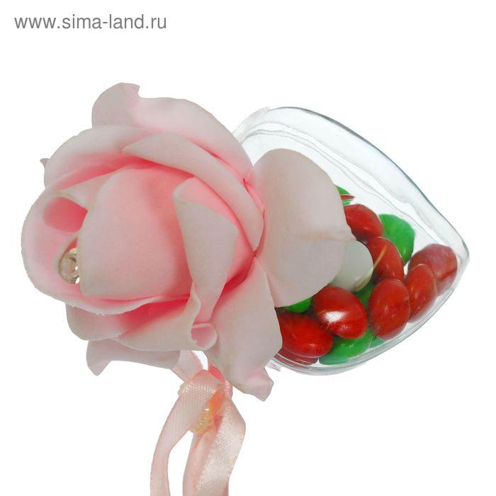 Сюрприз на палочке для букетов с сердечком цвет розовый