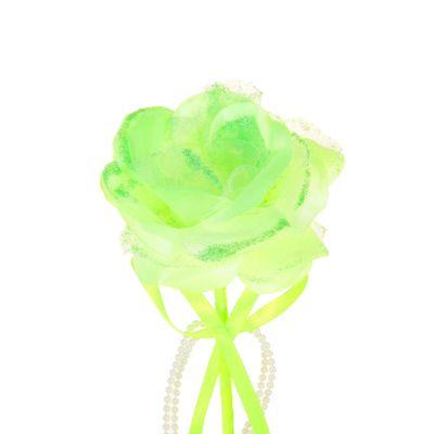 """Цветок-конфетница для букетов """"Роза"""" салатовая с бусами"""
