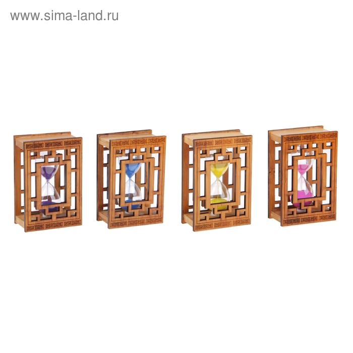 Часы песочные в книге с греческим орнаментом, бамбук микс 8*12,5см