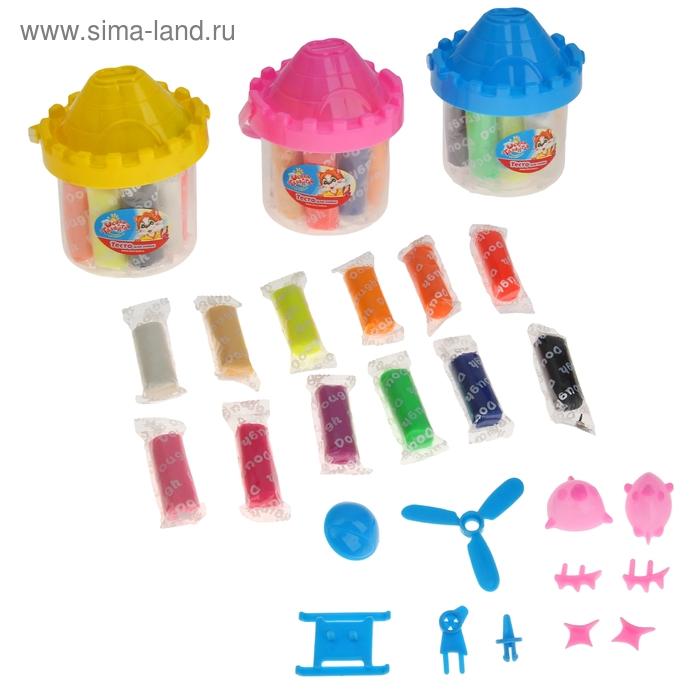 Тесто для лепки 12 цветов по 17 г + 12 предметов, банка-копилка, цвета МИКС