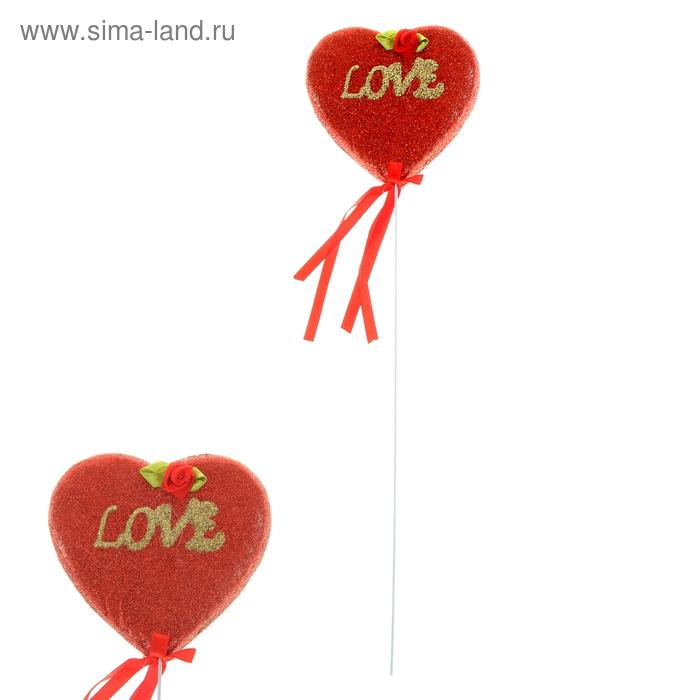 "Сердце на палочке с блестками ""Love"""
