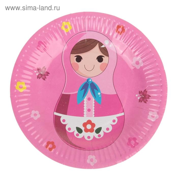 """Набор бумажных тарелок """"Матрешка"""" цвет розовый (6 шт), 18 см"""