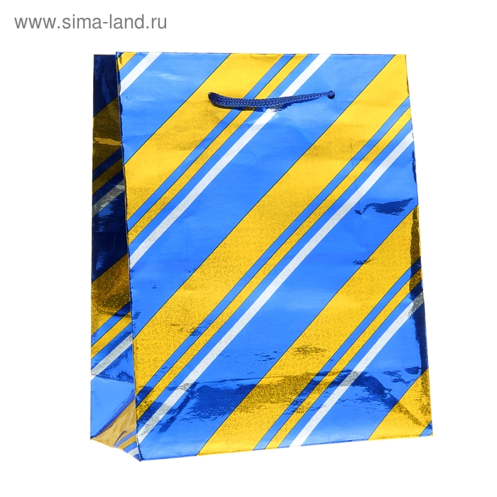 """Пакет голографический """"Широкая полоска"""", цвет синий"""