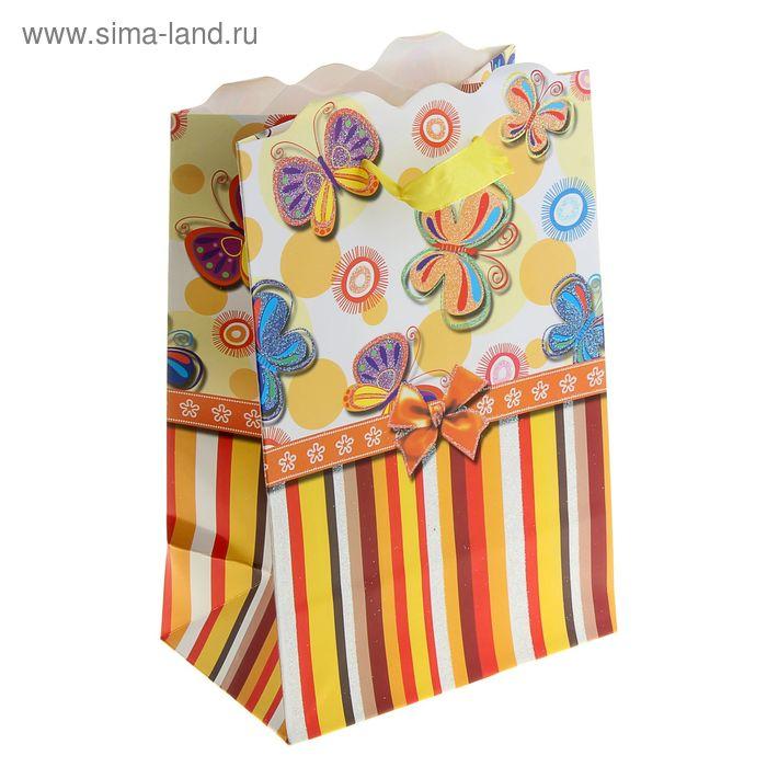 """Пакет ламинированный """"Полёт бабочек"""", цвет оранжевый"""