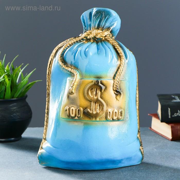 """Копилка """"Мешок: 100 тысяч долларов"""" голубая"""