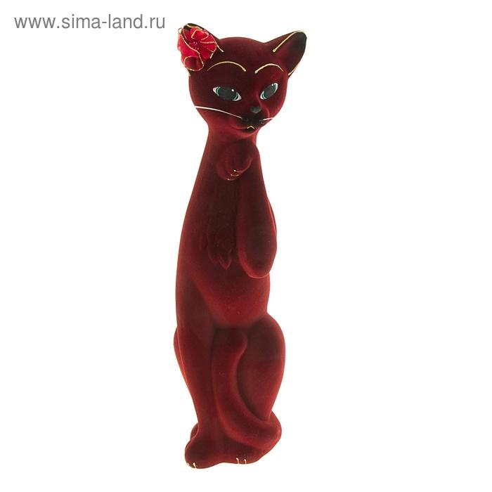 """Копилка """"Кошка Алиса"""" большая, флок, бордовая"""