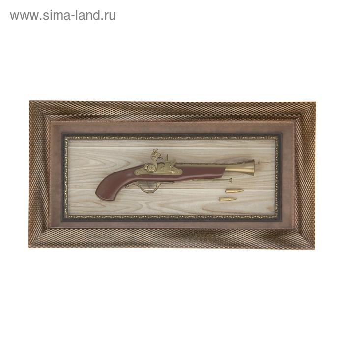 Сувенирное изделие в раме пистолет с пулями