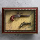 Souvenir in frame, 2 musket on the world map