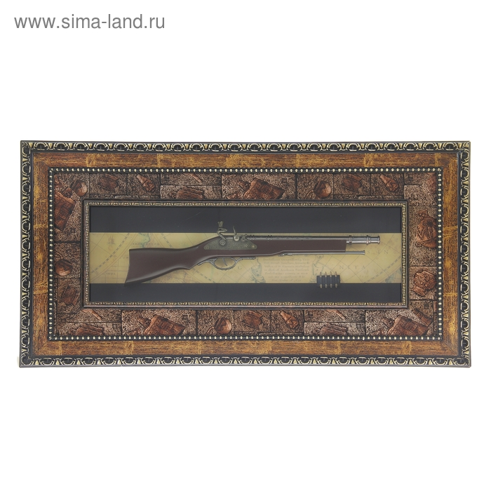 Сувенирное изделие в раме, большой мушкет, пули