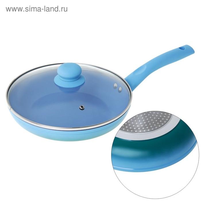 """Сковорода литая 22 см """"Лагуна"""" с керамическим покрытием, индукционным дном и крышкой, толщина 3 мм"""