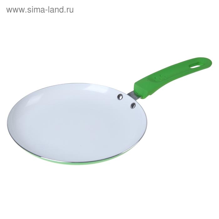 """Сковорода блинная 20 см """"Неон"""" с керамическим покрытием и индукционным дном, зеленая"""