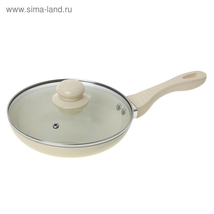 """Сковорода литая 26 см """"Ваниль"""" с керамическим покрытием и крышкой"""