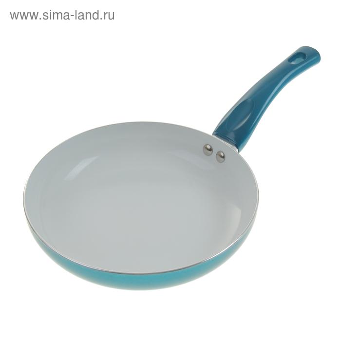 """Сковорода с керамическим покрытием 24 см """"Металлик"""", морская волна"""