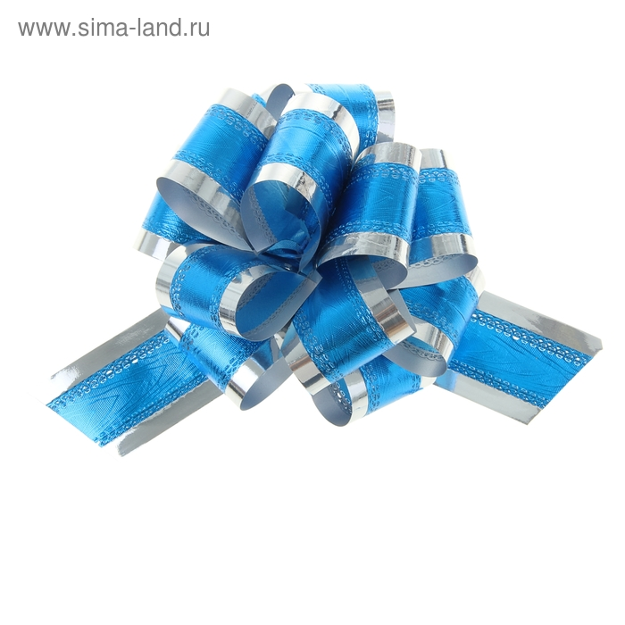 Бант-шар №5 синий в серебре