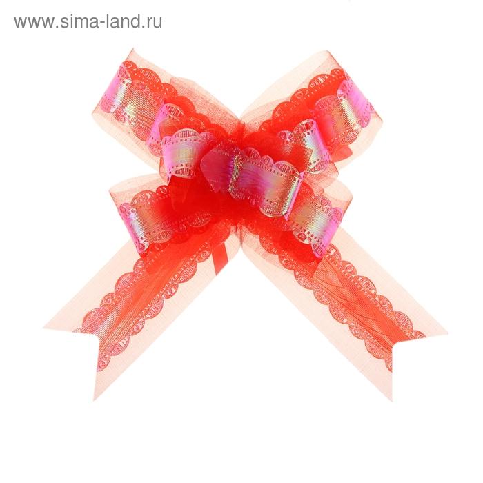 "Бант-бабочка №5 ""Ажурный перламутр"", цвет красный"