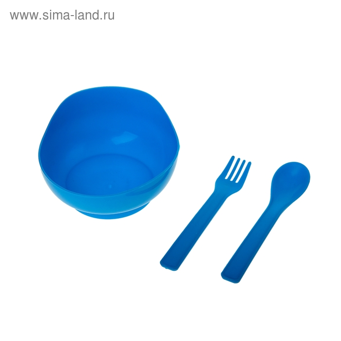 "Набор детской посуды ""Классика"", 3 предмета: миска 250 мл, ложка, вилка, цвета МИКС"