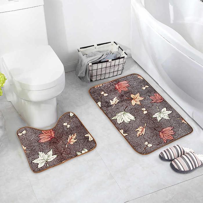 Набор ковриков для ванны и туалета Доляна «Осенние листья», 2 шт: 40×50, 50×80 см - фото 732206
