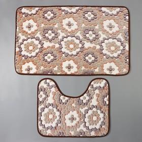 Набор ковриков для ванны и туалета Доляна «Бежевая фантазия», 2 шт: 40×50, 50×80 см