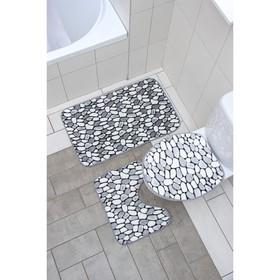 Набор ковриков для ванны и туалета Доляна «Галька», 3 шт: 35×40, 45×50, 50×80 см