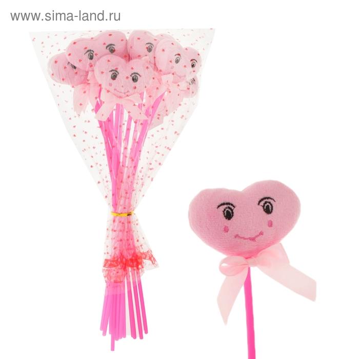 """Сердце на палочке """"Смайл"""" с бантиком цвет розовый"""