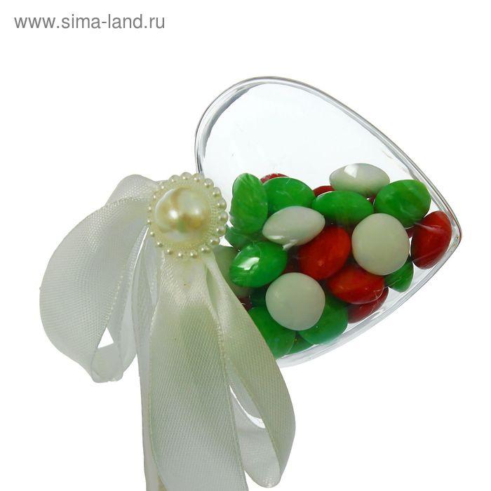 Сюрприз бант на палочке для букетов с сердечком цвет белый