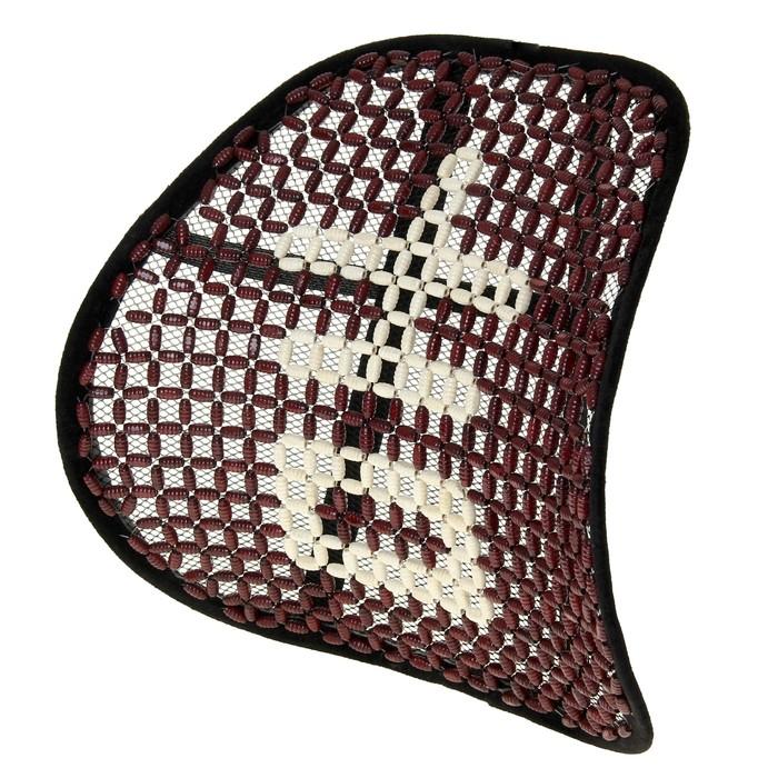 Ортопедическая спинка-подушка упругая на сиденье 38 x 39 см, красно-белое дерево
