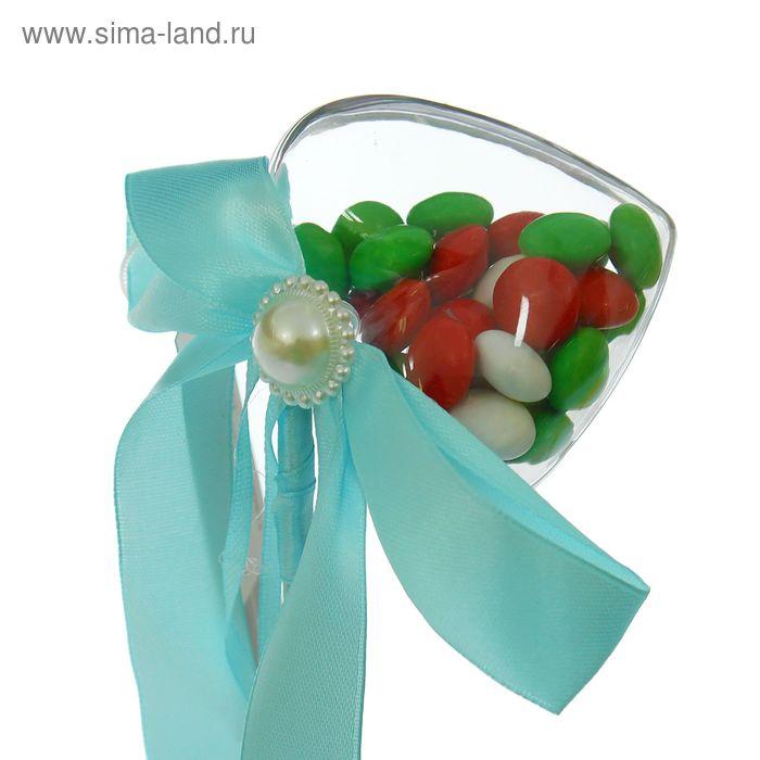 Сюрприз бант на палочке для букетов с сердечком цвет голубой