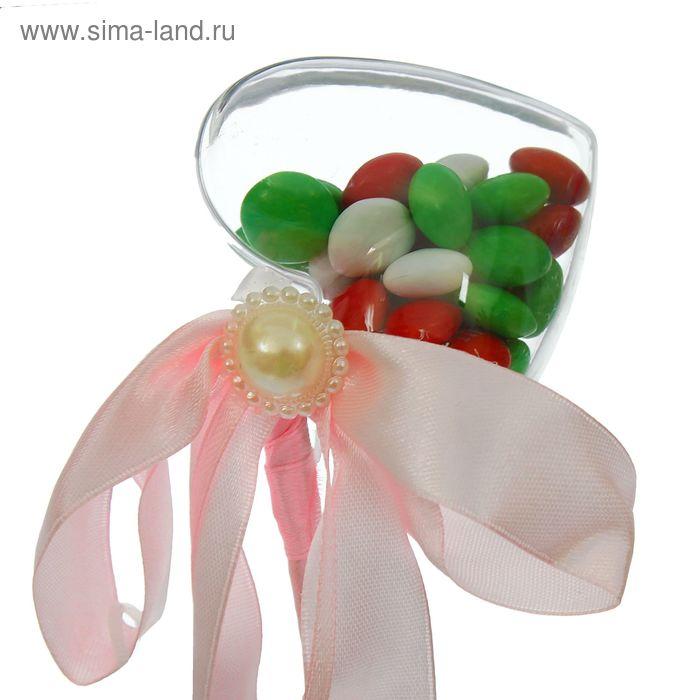 Сюрприз бант на палочке для букетов с сердечком цвет розовый