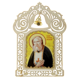 """The icon in the car with a bell """"Seraphim"""" on the basis of adhesive"""