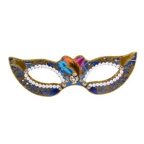Карнавальная маска,  синий, золотой узор, перья, без резинки Ош
