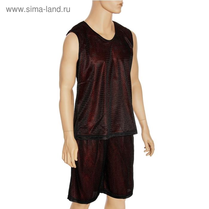 Форма баскетбольная двухсторонняя мужская р. 3ХL, рост 175 см, цвет чёрно-красный