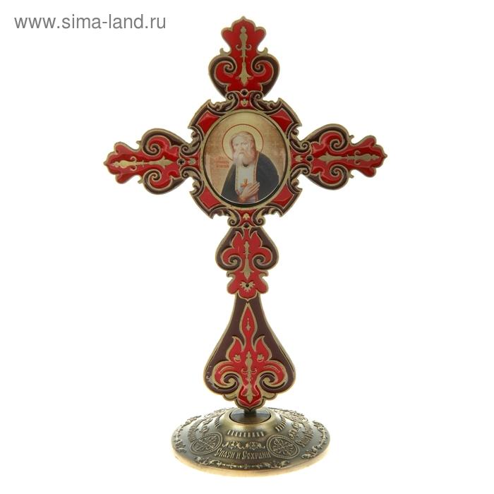 """Крест на подставке с иконой """"Преподобный Серафим Саровский"""""""
