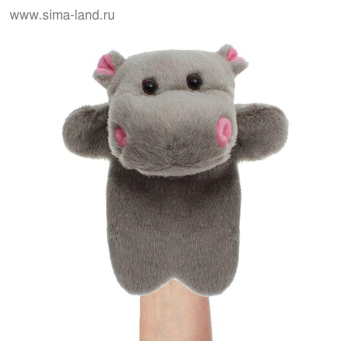 """Мягкая игрушка на руку """"Бегемот"""", цвет серый"""