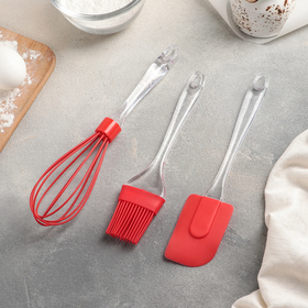 """Set for baking """"Ice"""", 3 items: blade of 19 cm, 17.5 cm brush, whisk 25cm, MIX color"""