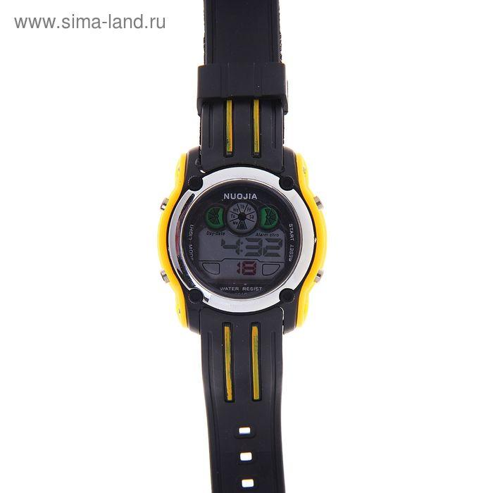 Часы наручные мужские электронные влагозащищенные функциональные на силиконовом ремешке, цвет черно-желтый