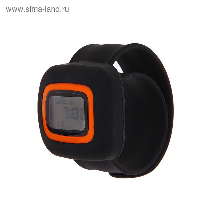 Часы наручные женские на силиконовом браслете, прямоуголый дисплей, чёрные