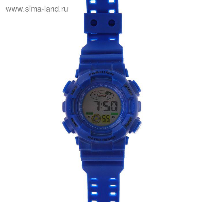 Часы наручные мужские электронные на силиконовом ремешке, цвет синий