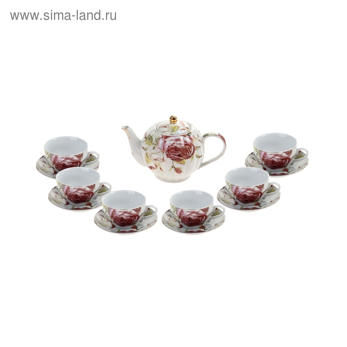 """Сервиз чайный """"Мадлен"""", 13 предметов: 6 чашек 250 мл, 6 блюдец, чайник 1 л"""