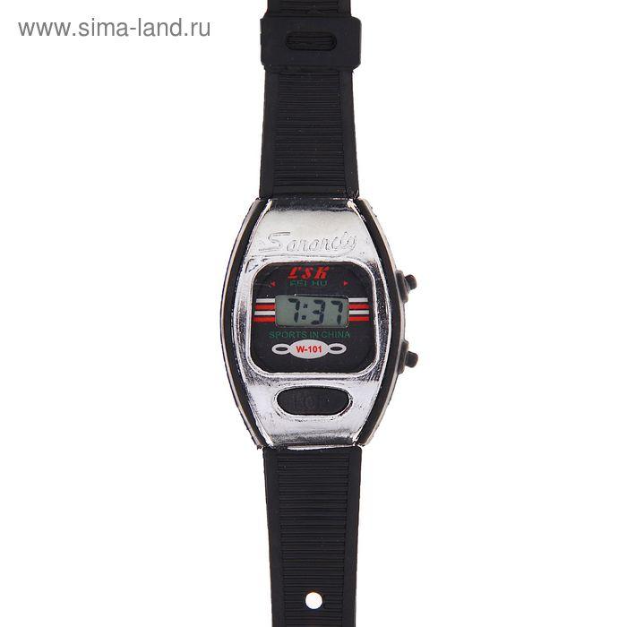 Часы наручные мужские электронные на силиконовом черном ремешке