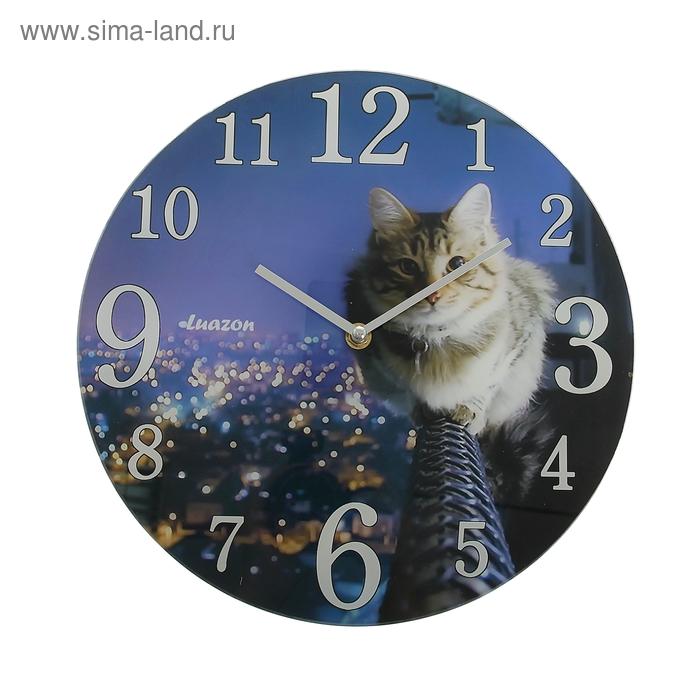 """Часы настенные из стекла """"Кошка и ночной город"""""""
