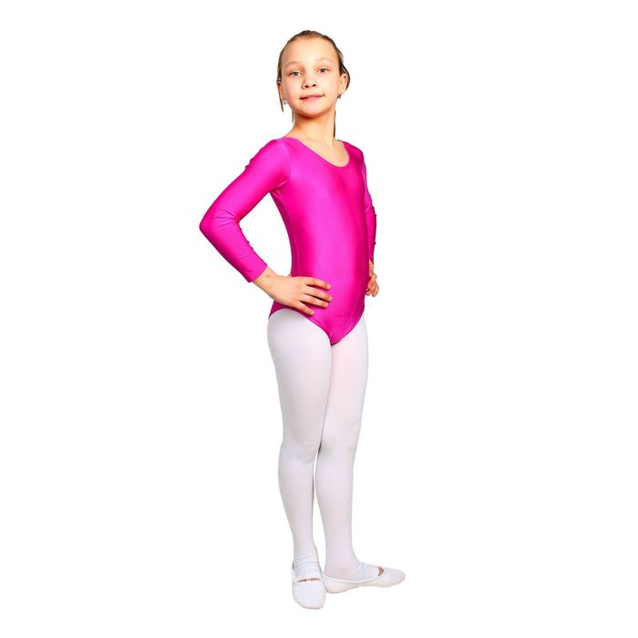 Купальник гимнастический, с длинным рукавом, размер 32, цвет лиловый