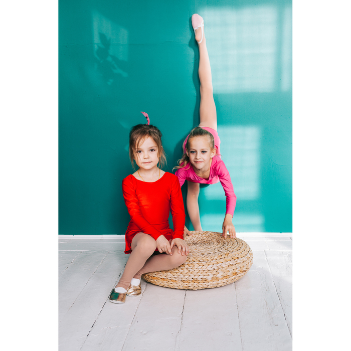 Купальник гимнастический с юбкой, с длинным рукавом, размер 32, цвет красный