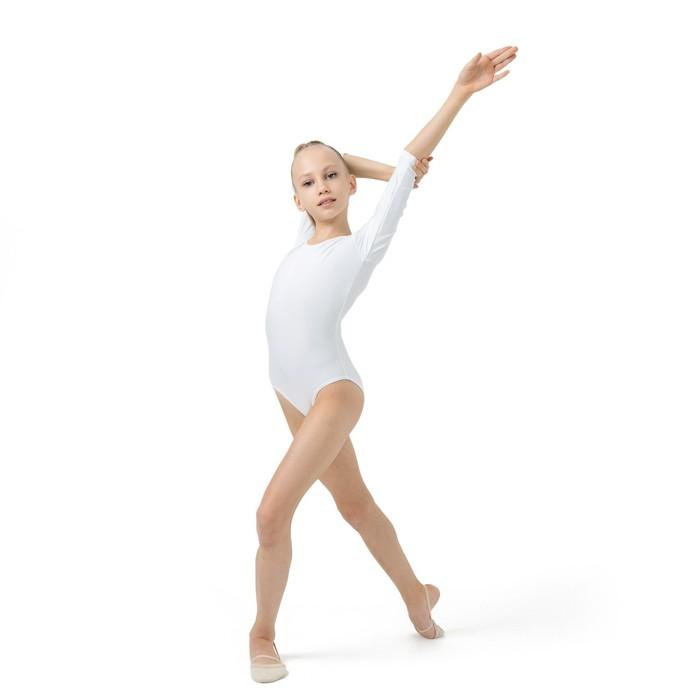 Купальник гимнастический, рукав 3/4, размер 28, цвет белый