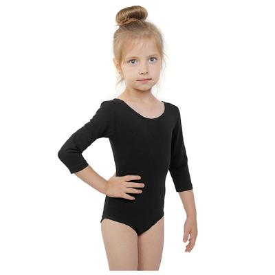 Купальник гимнастический, рукав 3/4, размер 32, цвет чёрный