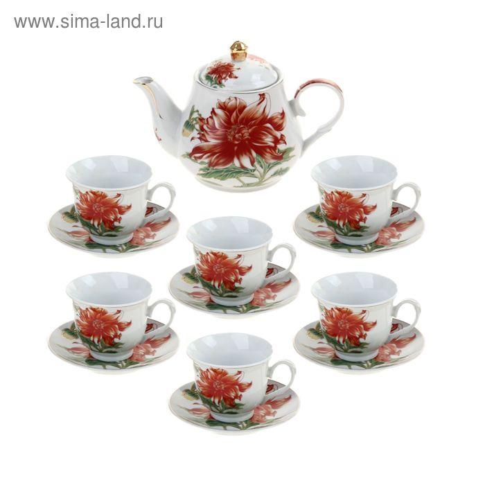 """Сервиз чайный """"Ева"""", 13 предметов: 6 чашек 200 мл, 6 блюдец, чайник 1 л"""